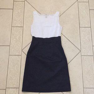 H&M layered white top, navy bottom business dress